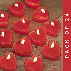 Scented Candles for Love Valentine's Day Gift Set of 24 Scented Heart Tealight Candles | Heart Candles in Seductive English Rose Aroma| Candles for Decoration | Packed in A Beautiful Gift Box