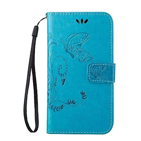 Schutzhülle für Samsung Galaxy S4 i9500 case Wallet Leder Schale Tasche Magnet PU Hülle Handy Silikon Back Cover Etui Skin Shell Purse Portemonnaie Geldbörse lebendige Schmetterling Gras vivid butterfly