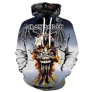 Unbekannt Femmes Hommes Décontractée Iron Maiden Impression 3D Party Long Sleeve Sweat à Capuche Top Blouse,L