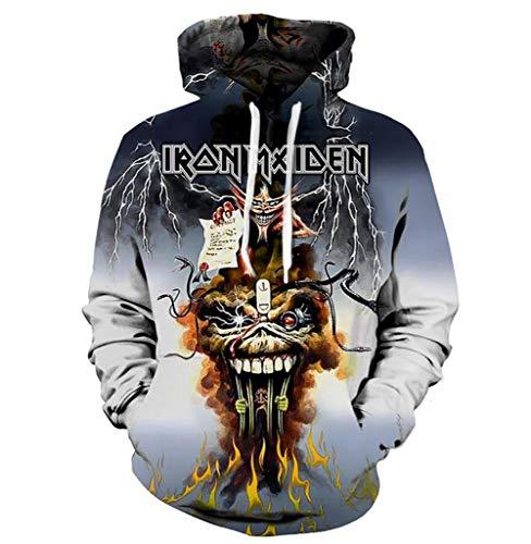Unbekannt Frauen der Männer 3D-Druck Iron Maiden Party Lange Ärmel Kapuzenpullover Top Bluse,S -