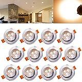 Hengda® 12er Pack 3W LED Einbauleuchte Set Geringe Dimmbar Warmweiß Einbautiefe Beleuchtung Deckenleuchten 230V Anschluss Einbauspots, Energiesparlampe Sparlampe IP44
