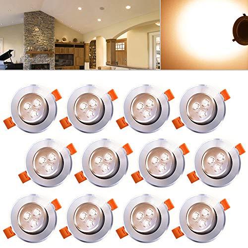 Hengda 12er Pack 3W LED Einbauleuchte Set Geringe Dimmbar Warmweiß Einbautiefe Beleuchtung Deckenleuchten 230V Anschluss Einbauspots, Energiesparlampe Sparlampe IP44