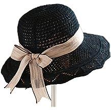 Leisial Hueco Sombrero Playa Paja de Viajes Vacaciones Verano Gorro Estilo  Británico Sombrero Modelos de Pareja 8d186cb177d
