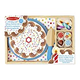 Melissa & Doug Birthday Party Cake (Wooden Play Food, Mix-n-Match Toppings and 7 Candles, Sturdy Construction, 34 Pieces)