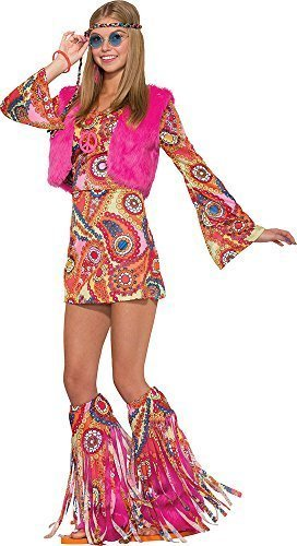Party 1970 Kostüm (Damen 1970's Blume Kostüm Party Outfit Hippy Fell-rever Groovy)