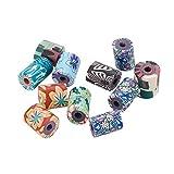 nbeads Polymer-Perlen, Säulenform, mit Blumenmuster, für Bastelarbeiten und Schmuckherstellung, 7 x 9 mm, Loch: 2 mm, 200 Stück