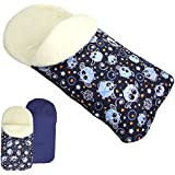 rawstyle Saco de pie de invierno * Marino + búho $15* Saco de pie para bebé por ejemplo maxi-cosi, Römer, Cochecito o Buggy etc. nuevo Saco lana de cordero Búhos