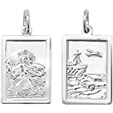 Sterling Silver Oblong Double Sided St Christopher Pendant On A Snake Necklace