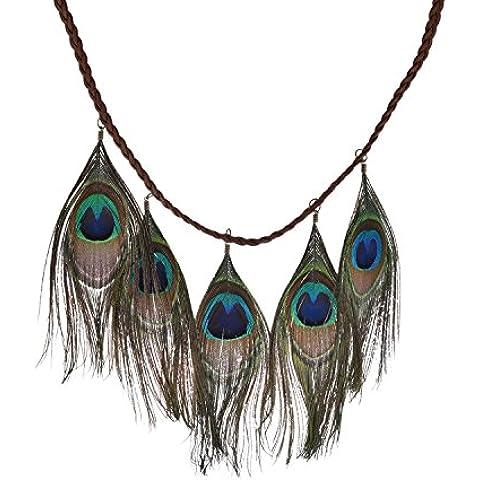 Lureme Native American intrecciato stringa di cuoio con piume di pavone collana dei pendenti per le donne e le ragazze (01002127) - Piuma E Collana