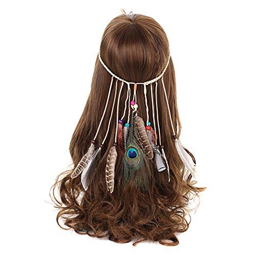 TININNA Indiana Copricapo Boemia donne della nappa Fascia per capelli Fascia per Sposa Partito Headwear Hair Styling Accessori Piuma di pavone #2