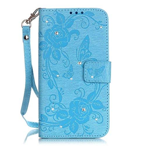 iPhone Case Cover Premium PU-Leder Tasche Cover mit Resine Rhinestone und hängenden Seil Folio Stand Case Embossing Schmetterling Blumen Brieftasche Fall für iPhone 5S SE ( Color : Deongaree , Size :  Blue