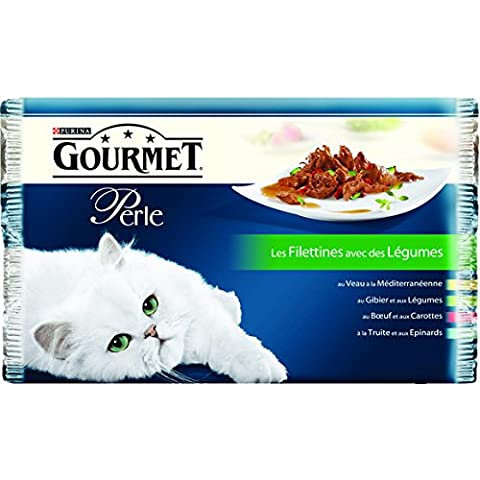 Gourmet Perle, aliment complet pour chat adulte avec des crevettes entières Les 4 sachets de 85g Prix Unitaire - Envoi Rapide Et