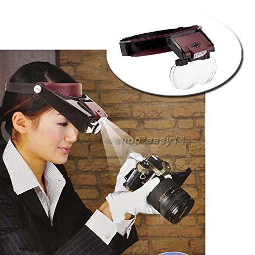 Preisvergleich Produktbild EMOTREE Kopflupe Profi Lupe LED Licht Brillenlupe Lupenbrille Stirnlupe mit 4 Linsen