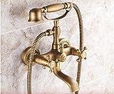SADASD European Copper Badezimmer Antike Dusche Wasserhahn Set Badewanne Armatur Dusche heiß und Kalt Mischbatterie