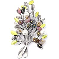 Xuniu Vintage Brosche Pin, Naturstein Brosche Retro Baum Imitation Perle Pin Broschen für Frauen