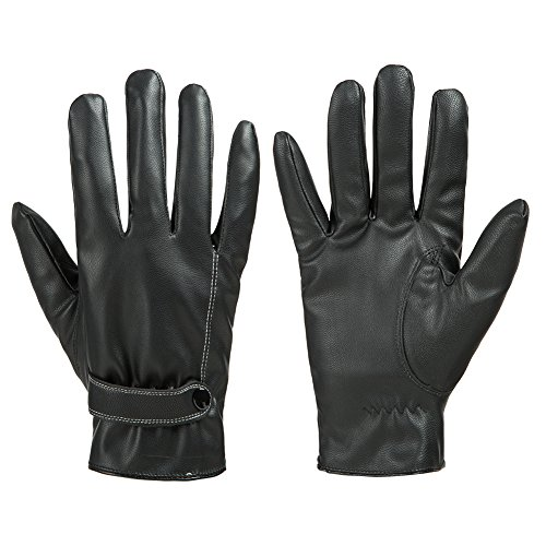 GLOUE Leder Handschuhe Warme Handschuhe Touchscreen winterfest wasserdicht winddicht unisex Winter Outdoor schwarz