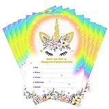 Aytai 20pcs Arcobaleno Unicorno Compleanno Inviti con buste e Thank You Adesivi, fogli d'oro Unicorno Compleanno carte per bambini Unicorno festa a tema Baby Shower Forniture (fiore)