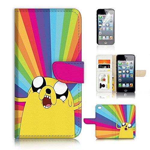 Aufklappbare Schutzhülle mit Geldbörse und Bildschirmschutzfolie im Set für iPhone 5/5S/iPhone SE. A20207 Adventure Time Jake. (Geldbörse Jake)