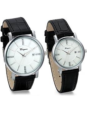 JewelryWe 2pcs Herren Damen Freundschafts Armbanduhr, Business Casual Kalender Analog Quarz Leder Armband Uhr...
