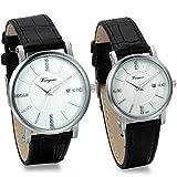 JewelryWe 2pcs Herren Damen Freundschafts Armbanduhr, Business Casual Kalender Analog Quarz Leder Armband Uhr für Lieben Valentinstag Paar Paare Geschenk, Schwarz