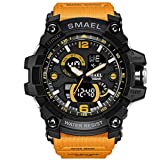 AnazoZ Reloj Hombre Relojes Unisex Reloj Deportivo Reloj Multifunción Reloj Impermeable Relojes Electronicos Negro Naranja