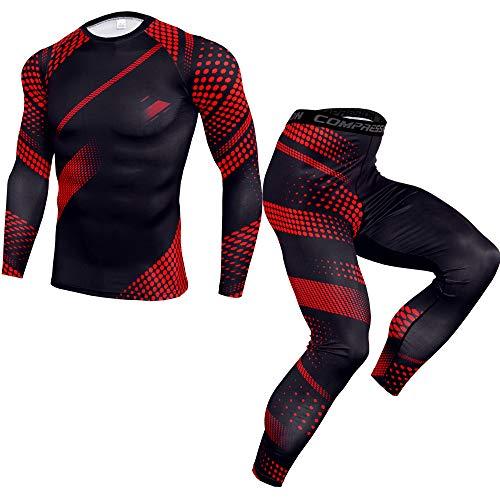 Eghunooye Männer Sportbekleidung Set Camouflage Fitness Trainingsanzug Winter Sportswear Laufset Sport Anzug Radsport Running Gym Jogging Kompressionsshirt und Sporthose Leggings (Schwarz Rot, 3XL)