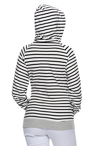 Y-BOA Sweat-Shirt Femme Sport Casual Capuche hoodies Hiver Jumper Rayure