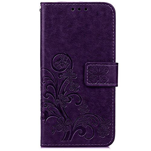 iPhone Case Cover IPhone6s Fall IPhone6s plus Fall-Abdeckung, Normallack PU-lederner schützender Fall-Mappen-Fall-Schlag-Standplatz-prägende Blumen-Kasten-Abdeckung mit Seil für IPhone6 6s und IPhon Purple