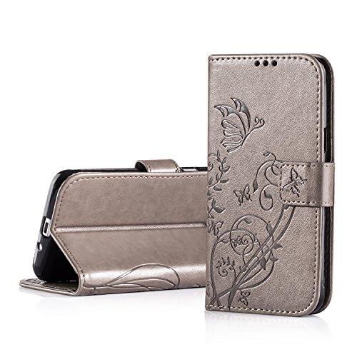 J3 Hülle ZPTONE PU Lederhülle Flip Tasche Case Galaxy J3 2016 Premium Schutzhülle PU Leder mit Integrierten Kartensteckplätzen und Ständer für Samsung Galaxy J3 (2016) Geprägt Schmetterling Blumen - Grau