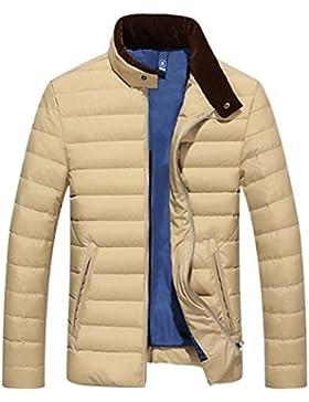 MHGAO Casual color sólido de los hombres calientes del invierno abajo cubre la chaqueta , khaki , xl