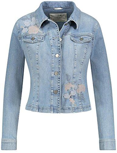 Gerry Weber Casual/Edition Jacke Jeans + Gewebe Jeansjacke mit Stickerei bleach denim mit use 46 (Stickerei-gewebe)
