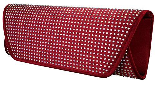 Elegante borsa da donna / Clutch / Borsa da sposa / Borsetta da sera con strass in vari colori antracite, navy, rosa, rosso, nero o grigio argentato Rosso