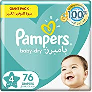 Pampers Baby-Dry, Size 4, Maxi, 9-14 kg, Giant Pack, 76 Diapers