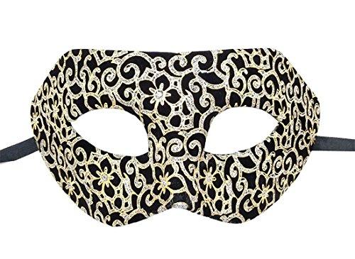 Herren Maskerade Maske Flanell Antiquität Retro Venezianisch Party Ball Römisch Halloween Mardi Gras Karneval Maske (Gold Antique Blumen)