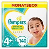 Pampers Premium Protection Windeln, Gr.4+ Maxi Plus, 10-15kg, Monatsbox, 1er Pack (1 x 140 Stück)