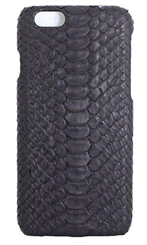 Minifamily® Schwarz Echtes Python Schlange Haut Leder Telefon Schutz Muschel Etui Schale für Apple iPhone 6/6s / 6 Plus 5,5 Zoll / iPhone 7/7 Plus (iPhone 6s 4,7 Zoll) -