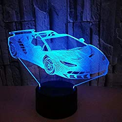 Optical Illusion 3D Sports Car Night Light 7 Colors Changing USB Power Touch Switch Decor Lamp LED Table Desk Lamp Brithday Children Kids Christmas Xmas Gift