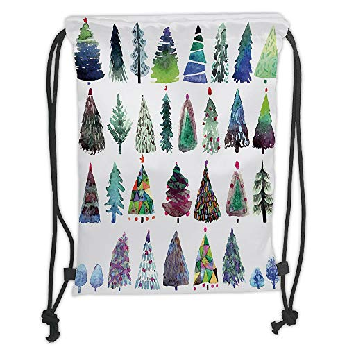 Fir Multi Color Christmas Tree (Fashion Printed Drawstring Backpacks Bags,Christmas,Big Collection of Watercolor Christmas Fir Trees Artistic Abstract Silhouettes,Multicolor Soft Satin,5 Liter Capacity,Adjustable String Closure,)