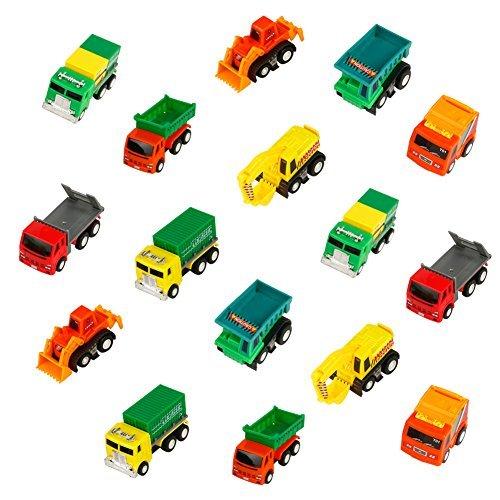 Mini Auto Sandspielzeug Baufahrzeuge Kinder Zurückziehen Auto Miniaturautos Set für Kinder mit 16 Auto