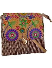 Styles Creation Women's Brand New Designer Party Wear Satin Jute Embroidery Sling Handbag (HNDBG109)