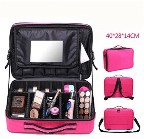 LUCKY-U Trousse de Maquillage Grande taille Assez d'espace Collection cosmétique Espace de rangement Maquillage Cadeaux pour femme Dames Imperméable , pink