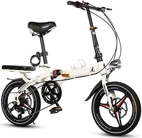 Pkfinrd Pieghevole Uomini e Donne Folding Bike - Folding Bike 20 Pollici Shifting Freni a Disco Ultra Light Mini Adulti Viaggi Biciclette, whiteshifting (Color : Whiteshifting)
