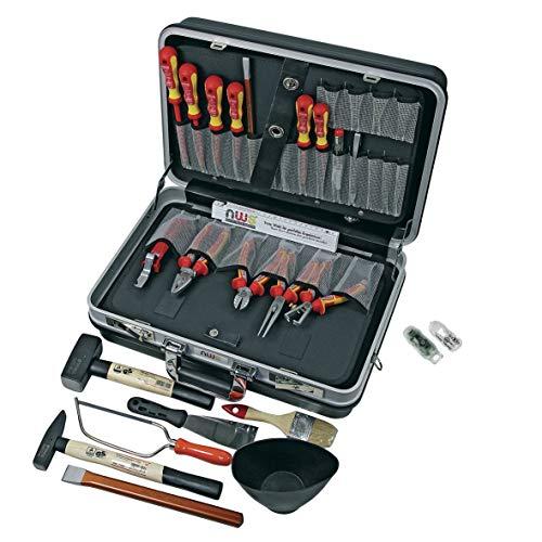 Werkzeugkoffer NWS 321K-23 24-teilig Werkzeug 1000 Volt Elektriker VDE Kraft-Kombinationszange Seitenschneider Abisolierzange Radiozange Kabelmesser Hammer + E-Detektor NWS 819-4