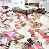 Pvc Selbstklebende Wasserdichte 3D Bodenfliesen Wandbild Tapete Muscheln Blütenblätter Wohnzimmer Badezimmer 3D Bodenbelag Tapeten Wohnkultur 300cm(L) x200cm(W)