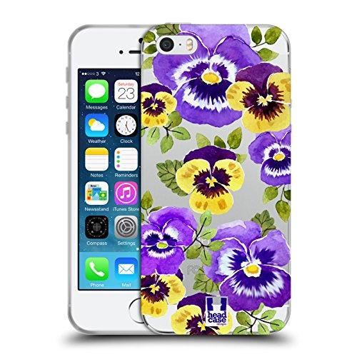 Head Case Designs Orchidées Fleurs À L'aquarelle 2 Étui Coque en Gel molle pour Apple iPhone 5 / 5s / SE Pensées