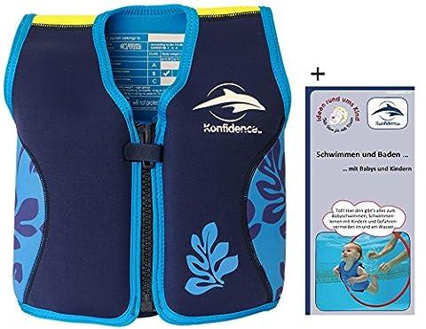 Kinder-Schwimmweste 2J-BB-137 aus Neopren, Blaue Blätter, Größe: 12-16 kg (2-3 Jahre), Brustumfang 56 cm