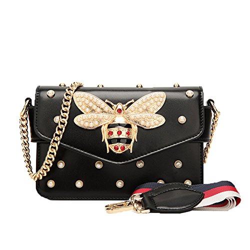 JUND 2020 Neu Frau Biene Dekoration Mini Platz Umhängetasche Mode Kawaii Kette Messenger Bag Perle Punkte Damentaschen (Satchel Mini Classic)