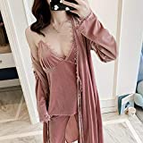 Herbst Neue goldene Samt einfarbig 4 Stück Set Damen Robe Anzug warm 2 Stück Nachthemd + Cardign + Hosenanzug Pyjamas 3 XL