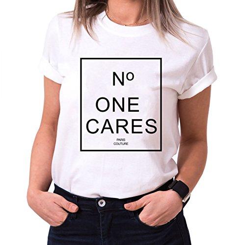 No One Cares Trendiges Damen T-Shirt Girlie Kurzarm Baumwolle mit Druck, Farbe:Weiß;Größe:M (Frauen Givenchy-t-shirt)