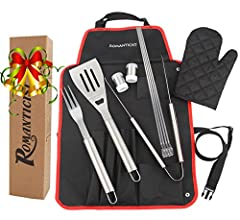 Idea Regalo - Romanticist BONUS Skewers - Set Grill Professional Premium Heavy Duty 7Pcs con Custodia per Magazzino - Strumenti BBQ in acciaio inox di alta qualità - Spatola, pinze, forchetta, grembiule
